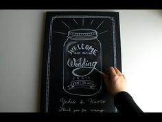 結婚式のウェルカムボードにもなる、黒板を使ったチョークアート!(chalkart) メイソンジャー Mason jar