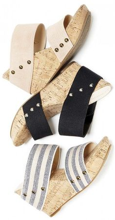 Comfortable slide-on wedges with cork platforms, fabric straps, and stud details