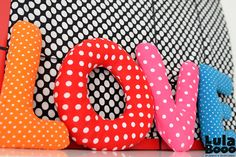 Pillows - letters, decorations for nursery or wedding LOVE