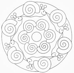 Snail Coloring Page! Mandala Coloring Pages, Colouring Pages, Coloring Pages For Kids, Coloring Sheets, Coloring Books, Yoga For Kids, Art For Kids, Crafts For Kids, Mandala Design