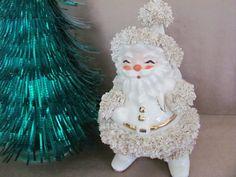 Vintage Christmas Planter, 1950's Robyn Ceramics Santa Claus Planters Spaghetti Trim, Vintage Santa, Christmas Decor, Mid Century  putting this on my wish list!  gorgeous piece