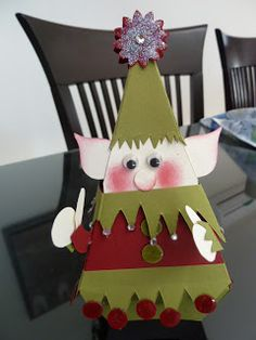 Passion scrapbooking: Elf with petal cone die from Stampin'Up, Christmas punch art 3D box Made by my sister Julie