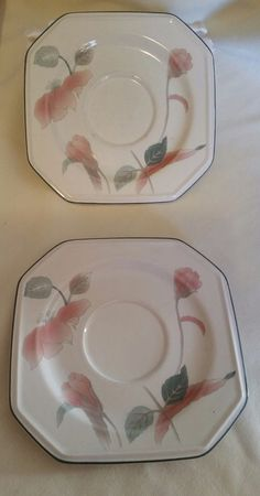 "Set of 2 Mikasa Continental Silk Flowers 7 1/2"" Saucers FREE SHIPPING"