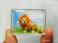 Miniature Crochet Lion Micro Mini Amigurumi Crochet Tiny by SuAmi