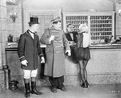 """A teenage Jean Harlow with Laurel & Hardy in """"Double Whoopee"""" (1929)"""