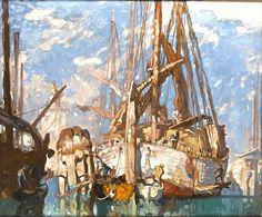 Venetian trabaccolos, c 1910 - Frank Brangwyn