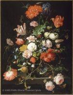 Bouquet de fleurs placé sur un piédestal en pierre, avec une libellule | Musée du Louvre | Paris