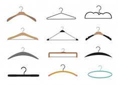 Premium Vector | Set with hangers. Hanger Clips, Tailor Shop, Shop Fittings, Modern Wardrobe, Wooden Hangers, Flat Illustration, Colourful Outfits, Clothes Hanger, Style Icons