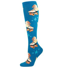 Womens Retro Roller Skates Knee High Socks | The Atomic Boutique.com
