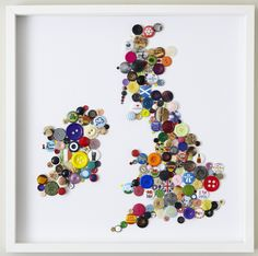 The UK made out of buttons and badges