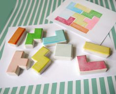 Tetris rubber stamp set of 8 hand carved rubber stamp by theKeris