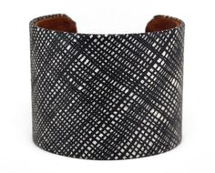 Crosshatch Fabric Cuff Bracelet by webbedware on Etsy