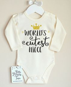 Worlds Cutest Niece Baby Bodysuit. Aunt Baby Clothes. Niece Gift from Aunt and Uncle. Cute Aunt Gift. Cute Baby Girl Clothes  A great gift from auntie and uncle, this baby bodysuit is perfect for the worlds cutest niece. It makes for birth announcement or baby shower gift. Please choose your favorite color and size from the color and size drop down menu. MATERIAL / QUALITY Our products are made of soft and gentle 100 percent cotton rib fabric perfect for the little ones. Please message u...