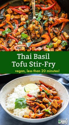Easy Vegan Thai Basil Tofu Stir Fry is packed with flavors and pairs well with r. - Easy Vegan Thai Basil Tofu Stir Fry is packed with flavors and pairs well with rice or noodles! Vegetarian Stir Fry, Healthy Stir Fry, Thai Vegetarian Recipes, Tofu Veggie Stir Fry, Thai Recipes With Tofu, Vegan Thai Fried Rice Recipe, Stir Fry With Tofu, Vegan Stirfry Recipes, Vegan Stir Fry Noodles