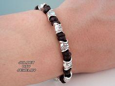 Tribal style silver fish bead hemp bracelet
