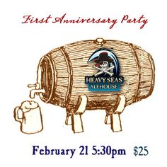 Help us celebrate our FIRST ANNIVERSARY by enjoying caskconditioned ales from some of Maryland's local breweries.    We'll have Evolution Craft Brewing, Dog Brewing Company,The Brewers Art, Union Craft Brewing, Stillwater Ales,Olivers Brewing Companies and Burley Oak casks on tapas well as a representative from each breweryto answer questions about the casks    $25 includes eight 3oz pours, an anniversary pint glass and a variety of appetizers