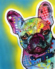 French Bulldog, Ink & Watercolor illustration, by Dean Russo, @fineartamerica.