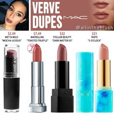 """MAC Verve Lipstick Dupes I have another MAC Cosmetics Lipstick dupe to share with you! The next shade up on the dupe list is """"Verve"""", a muted brownish-plum … Mac Dupes, Mac Lipsticks, Mac Verve Lipstick, Mac Cosmetics Lipstick, Mac Verve Dupe, Eyeshadow Dupes, Dark Lipstick, Lipstick Shades, Mac Brave Lipstick Dupe"""
