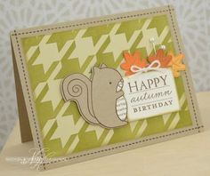 Autumn Birthday Card by Nichole Heady for Papertrey Ink (August 2013)