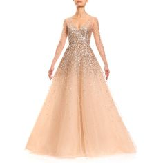 Carolina Herrera Sequined Illusion Tulle Ball Gown (10 300 UAH) ❤ liked on Polyvore featuring dresses, gowns, champagne, sequin ball gown, long gowns, long sequin dress, sequined dresses and long sequin gown