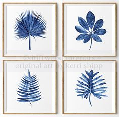 Tropical Leaf II Watercolor Print in Denim by driftwoodinteriors
