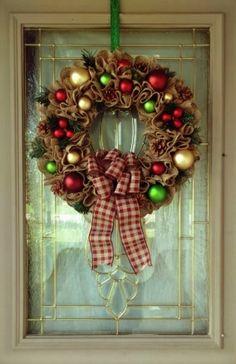 Farmhouse Christmas Wreath for Front Door, Rustic Christmas Wreath, Burlap Christmas Wreath, Christmas Ornament Wreath, Farmhouse Christmas