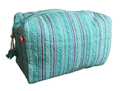 Hand Block Printed Toiletries Bag  Turquoise Stripe  by rasany