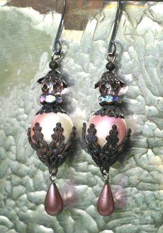 Beaded Earrings with reversed bead cap