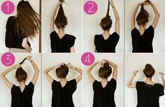 messy bun tutorial. She has a lot of good ideas on how to spend a lot if time on your hair to make it look like you didn't.