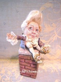 French 17th Century Humpty - Painted Tapestry with Curly kid lamb hair - lilac coat and antique lace - Jill Dianne Artist Miniature Doll on Etsy, $385.00