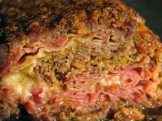 Sicilian Meatloaf // #makeahead and freeze // ground beef, eggs, bread crumbs, tomato juice, parsley, oregano, salt, pepper, ham, shredded mozzarella