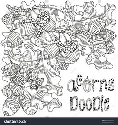 Artistically hand drawn acorns and oak leaves in vector. Black and white. Made by trace from sketch. For coloring book. Acorn And Oak, Floral Doodle, Oak Leaves, Zen Art, Coloring Book Pages, Christmas And New Year, Fall Halloween, Design Elements, How To Draw Hands