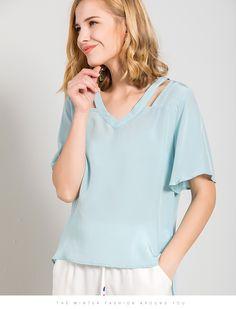 d7cef0cbe9434e US $39.0 15% OFF|Women Silk T SHIRT V neck 100% Natural silk casual shirt  2018 Summer new TOP Short Flare sleeves Pink Light Blue -in T-Shirts from  Women's ...