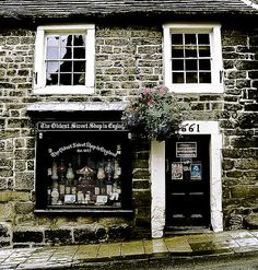 Oldest Sweet Shop in England. by Sue Smith, Yorkshire, UK 1661 My dream store. Boutiques, Shop Fronts, England And Scotland, Shop Around, North Yorkshire, Yorkshire England, English Countryside, British Isles, Porches