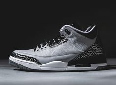 "Wolf Grey Jordan 3s are just over a week away. As far as we can tell these don't have any theme attached, but if you really wanted to make some connections, you could describe them as a ""Spurs"" pair to please the likes of San Antonio-based Jordan Brand athlete Kawhi Leonard. The elephant print sections are shinier than ever before thanks to a metallic silver treatment, which is the only real flossy element of this new colorway."