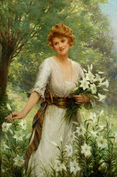 ⊰ Posing with Posies ⊱ paintings of women and flowers - Picking Wild Flowers - Sydney Percy Kendrick
