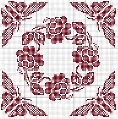 Cross Stitch Tree, Cross Stitch Borders, Cross Stitch Flowers, Cross Stitch Charts, Cross Stitching, Cross Stitch Patterns, Crochet Patterns, Crochet Cross, Thread Crochet