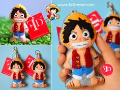 ★ Luffy from One Piece anime ★ Handmade felt keychains by FD.FOREVER