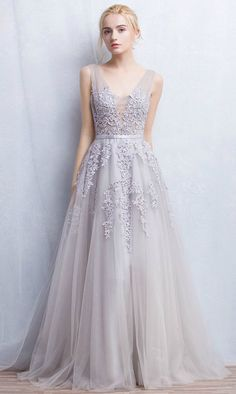Grey Romantic A-Line V-neck Floor-Length Tulle Wedding Dress With Appliques Lace