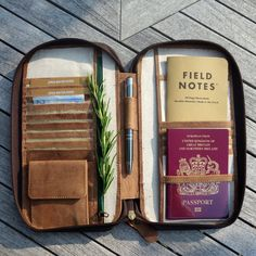 LEATHER TRAVEL WALLET (small) passport holder folio portfolio zip closure secure document organiser real genuine