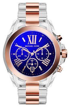 MICHAEL Michael Kors Michael Kors 'Bradshaw' Iridescent Crystal Resin Bracelet Watch, 43mm available at #Nordstrom