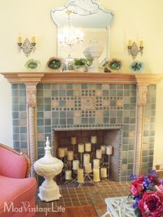 Fireplace and candles