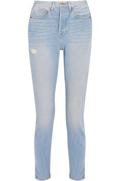 FRAME - Le Original Skinny Distressed High-rise Straight-leg Jeans - Blue - 32