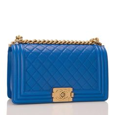 Chanel Blue Quilted Lambskin Medium Boy Bag