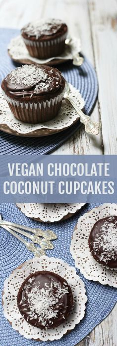 These dairy-free, egg-free and vegan Chocolate Coconut Cupcakes are made with a healthy flour mix that includes whole spelt, brown rice, and chickpea flour. Great Desserts, Best Dessert Recipes, Cupcake Recipes, Sweet Recipes, Delicious Desserts, Cupcake Cakes, Yummy Food, Cup Cakes, Chocolate Coconut Cupcakes