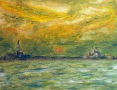 SUNSET IN VENICE - OIL ON CANVAS  -ANDREA PALERMO , ITALIAN PAINTER