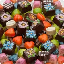 Colorful chocolate creations