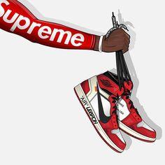 Supreme Iphone Wallpaper, Hype Wallpaper, Cartoon Wallpaper, Dope Cartoons, Dope Cartoon Art, Sneakers Wallpaper, Jordan Shoes Wallpaper, Sneaker Posters, Supreme Art