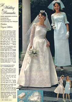 1966 wedding by Montgomery Ward ~ Michael Paul designed gowns 1960s Wedding, Vintage Wedding Photos, Vintage Bridal, Vintage Outfits, Vintage Dresses, Bride Gowns, Bridal Dresses, Wedding Attire, Wedding Gowns