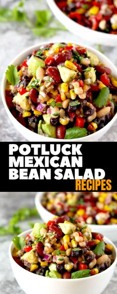 "When invited to a pot-luck meal, be sure to ask your hostess what type of dish is needed. If the response is ""anything"", this recipe travels well and is meant Potluck Recipes, Summer Recipes, Mexican Food Recipes, Dinner Recipes, Cooking Recipes, Healthy Recipes, Pot Luck, Mexican Potluck, Mexican Bean Salads"